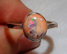 8.5sz Mexican Multicoloured Fire Opal .925 Sterling Ring