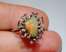 7.5sz Ethiopian Welo Solid Opal .925 Sterling Ring