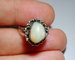 7sz Ethiopian Welo Solid Opal .925 Sterling Ring