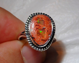 7.5sz Mexican Multicoloured Fire Opal .925 Sterling Ring