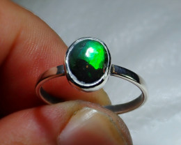 8sz Mexican Multicoloured Fire Opal .925 Sterling Ring