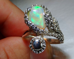 8.5sz Ethiopian Welo Solid Opal .925 Sterling Ring