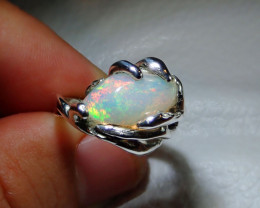 7sz Ethiopian Welo Solid Opal .925 Sterling Ring