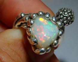 8-9sz Adjustable Ethiopian Welo Solid Opal .925 Sterling Ring