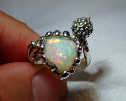 8-9sz Adjustable Ethiopian Welo Solid Opal .925 Sterling Ring