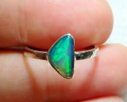 7.7sz Ethiopian Welo Solid Opal .925 Sterling Ring