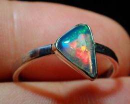 8sz Ethiopian Welo Solid Opal .925 Sterling Ring