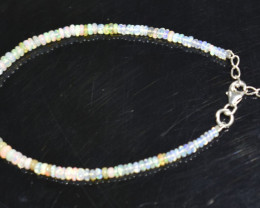 12.65 CT OPAL BRACELET MADE WITH NATURAL ETHIOPIAN BEADS STERLING SILVER OB