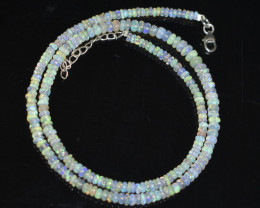 OPAL NECKLACE MADE WITH NATURAL ETHIOPIAN BEADS STERLING SILVER A19