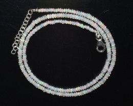 OPAL NECKLACE MADE WITH NATURAL ETHIOPIAN BEADS STERLING SILVER A-27