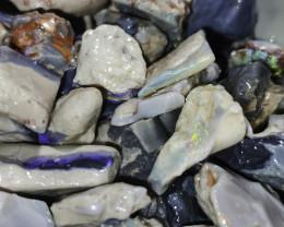 Beginners Black Opal Rough 1oz potch & color lot, lapidary, practice cuttin