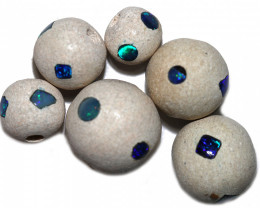 60 Cts parcel Crystal opal Round  inlaid Beads  Bu 2509