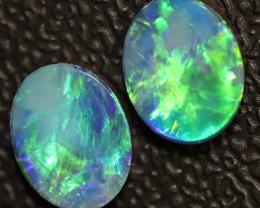 3.35 cts Australian Opal Doublet Stone 2pcs  9x7 Pairs