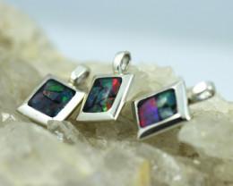3 x Bright Mosaic Triplet Opal Pendant emerald Shape BU 2567