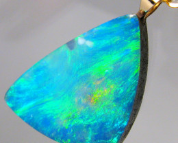 Australian Genuine Opal Pendant 14k Gold Doublet 7.35ct