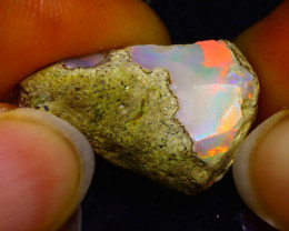 10.36Ct Multi Color Play Ethiopian Welo Opal Rough JN59