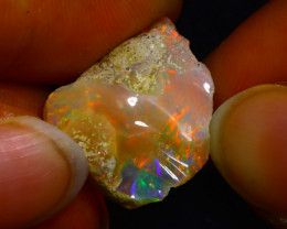 11.35Ct Multi Color Play Ethiopian Welo Opal Rough JN60