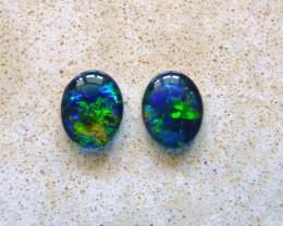 Vibrant Pair of Australian Opal Triplets 10x8mm Gem Grade (3508)