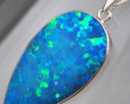Large Opal Pendant Australian Silver Jewelry 14ct Necklace C28