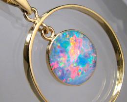 Australian Opal Pendant 14k Gold Hoop Jewelry 7.9ct Gift C45