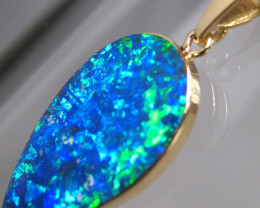 Australian Opal Pendant 8.15ct 14k Gold  Inlay Jewelry Gem #C35
