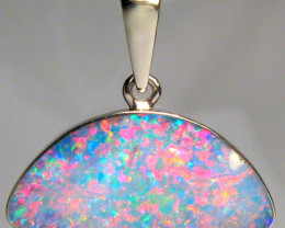 Opal Pendant 14k White Gold Australian Gem Gift 5.1ct C52