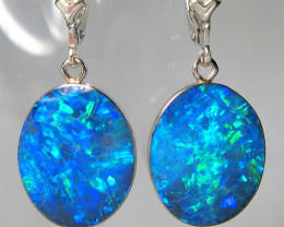Australian Opal Earrings 14.6ct 14k White Gold Quality Inlay C32