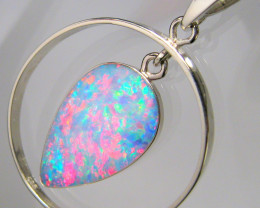 Genuine Australian Opal Pendant 14kt White Gold 8.95ct C49