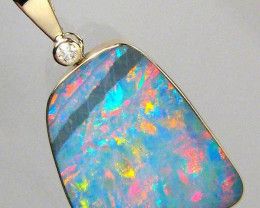 14k Gold Australian Opal & Diamond Pendant Inlay 8.7ct  881