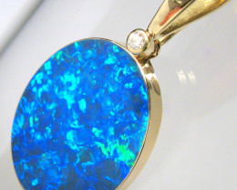 Opal & Diamond Pendant 18.75ct 14k Gold Large Jewelry Gift #C66