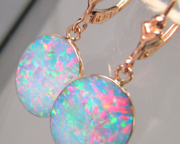 Australian Opal Earrings 10ct 14k Rose Gold Dangle Jewelry #C31