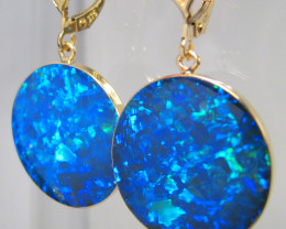 Australian Opal Earrings Large 14k Gold Dangle Clips 23ct #C30