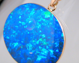 Australian Opal Pendant 11.85ct 14k Rose Gold Inlaid Doublet C54