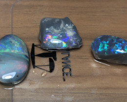 26cts Lightning Ridge Opal Rubbed Rough 3 pieces