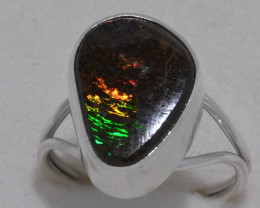 Rainbow Pattern Boulder Opal Sterling Silver Ring jn022