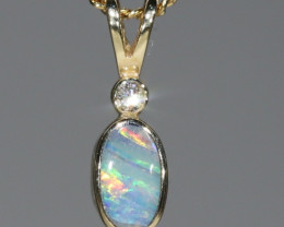 Boulder Opal and Diamond 18k Gold Pendant Code -GPA137