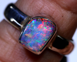 17.15 CTS BOULDER OPAL SILVER RING  OF-1077OPALSFOREVER