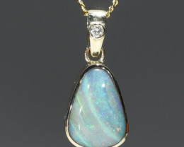 Boulder Opal and Diamond Gold Pendant Code -GPA150