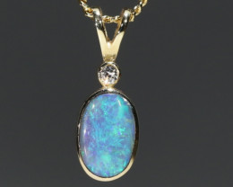 Boulder Opal and Diamond 18k Gold Pendant Code -GPA147