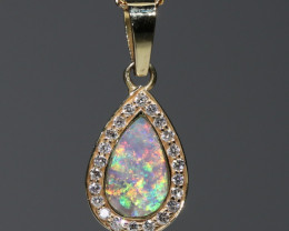 Opal and Diamond 18k Gold Pendant Code -GP105
