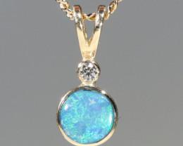 Boulder Opal and Diamond 18k Gold Pendant Code -GPA149