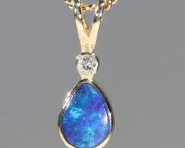 Boulder Opal and Diamond 18k Gold Pendant Code -GPA145