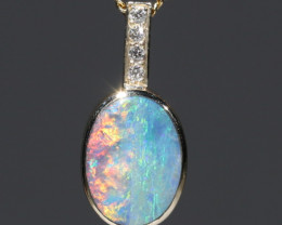 Boulder  Opal  and Diamond Gold Pendant Code -GPA136