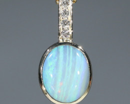 Boulder  Opal  and Diamond Gold Pendant Code -GPA144