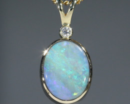 Boulder  Opal  and Diamond Gold Pendant Code -GPA151