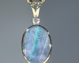 Natural  Australian Boulder  Opal  and Diamond Gold Pendant Code -GPA150