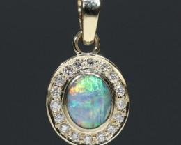 Boulder Opal and Diamond  Gold Pendant Code -PL38