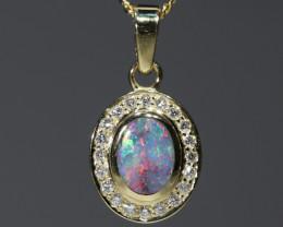 Boulder Opal and Diamond 18K Gold Pendant Code -PL42