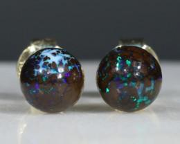 Natural Australian  6mm Boulder Opal Matrix Gold Earring Studs Code -GE23