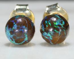 Natural Australian  6mm Boulder Opal Matrix Gold Earring Studs Code -GE25